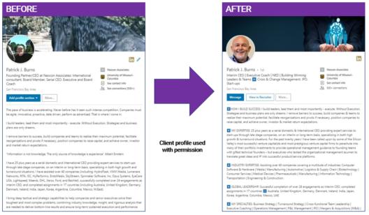 Patrick Burns's LinkedIn profile after the optimization by GatedTalent Team