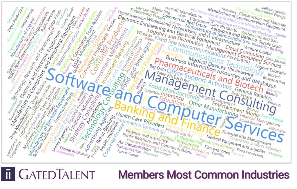 GatedTalent Members most common industries