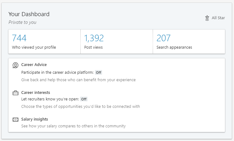 Linkedin Profile Dashboard