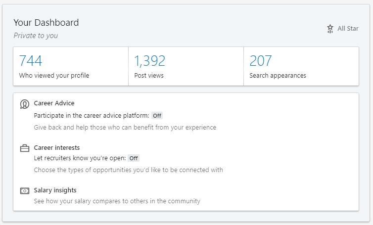 Linkedin Profile Dashboard