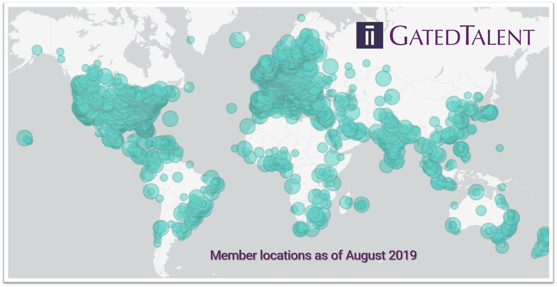 GatedTalent Member Locations August 2019