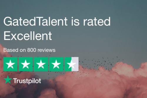 "800 reviews later - GatedTalent rated ""Excellent"" on Trustpilot!"