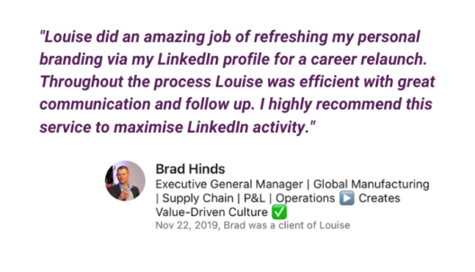 LinkedIn profile Optimization feedback from Brad Hinds