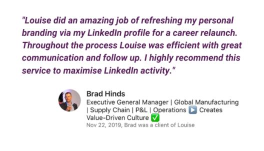 LinkedIn profile Optimization feedback from Brad Hinds