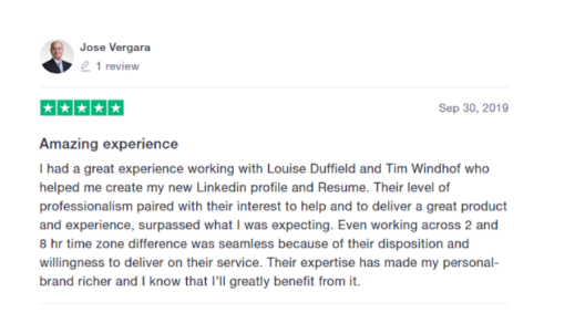 Feedback from Jose Vergara on services received from GatedTalent