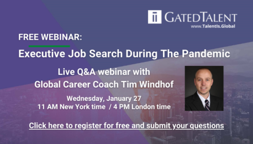 FREE Q&A WEBINAR ON JANUARY 27: Executive Job Search During The Pandemic